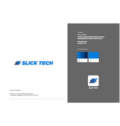 Slick tech logo template design vector