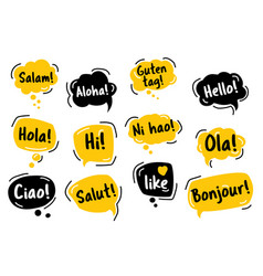 speech bubble hello in different languages of vector image