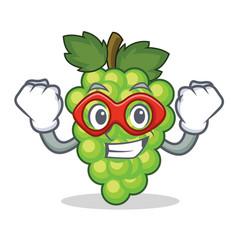 Super hero green grapes character cartoon vector