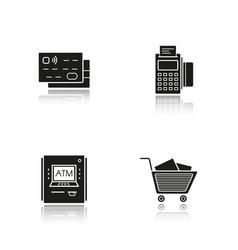 Supermarket shopping drop shadow black icons set vector