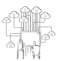 Tablet connected to cloud data storage vector