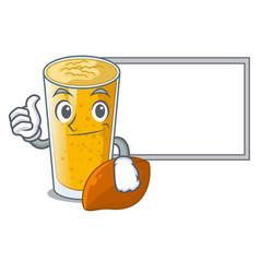 Thumbs up with board lassi mango in a cartoon vector
