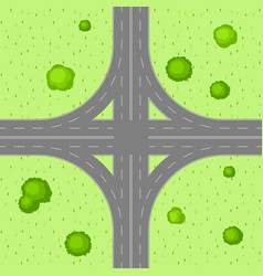 Top view of road junction vector