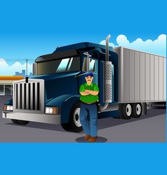 truck driver standing in front of his truck vector image