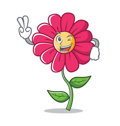 two finger pink flower character cartoon vector image