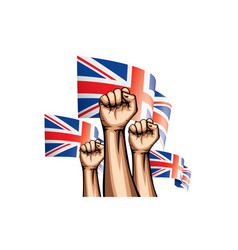 united kingdom flag and hand on white background vector image