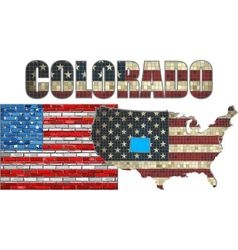Usa state of colorado on a brick wall vector