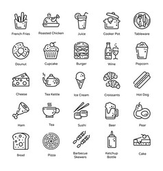 Variety food and snacks in line design vector
