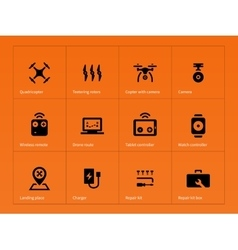 Wireless drone icons on orange background vector