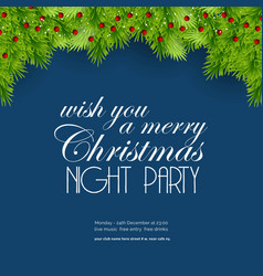 wish you a merry christmas night party background vector image