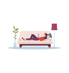 Woman lie on couch semi flat rgb color vector