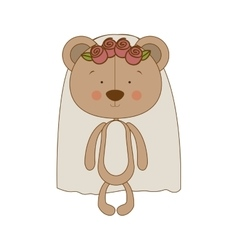 bride teddy bear character icon image vector image vector image
