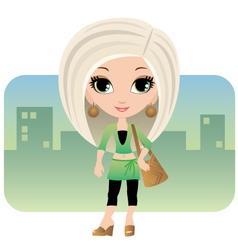 cartoon woman in a city vector image