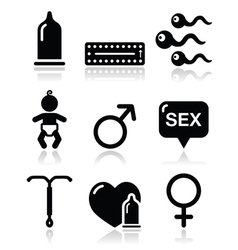 Contraception methods sex icons sex vector image vector image