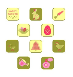 cross stitch easter icon set vector image