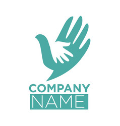dove bird symbol of hand in hands icon vector image vector image