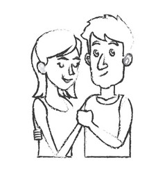 embracing couple relationship together sketch vector image vector image
