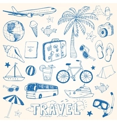 Hand drawn travel doodles vector image vector image