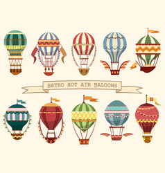 icons of vintage hot air balloons with flags vector image vector image