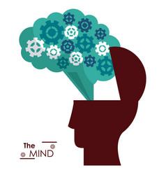 mind silhouette head brain gears success vector image