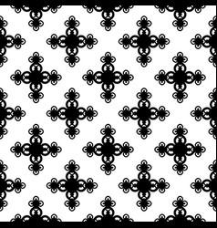 Monochrome floral geometric seamless pattern vector