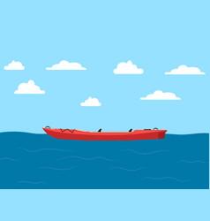 plastic kayak on seascape banner vector image vector image