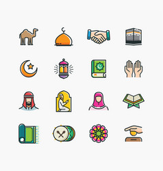 set of islamic icons vector image