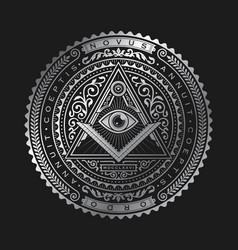 all seeing eye emblem badge logo metallic vector image