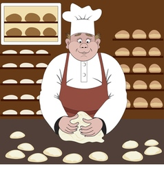 Baker makes the bread in a bakery vector image vector image