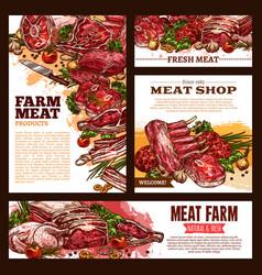 meat fresh cut sketch banner template set vector image