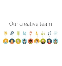 Our creative team Flat people with signs their vector image vector image