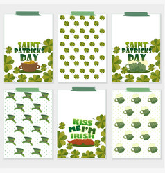 set of six st patricks day cards with beer vector image vector image