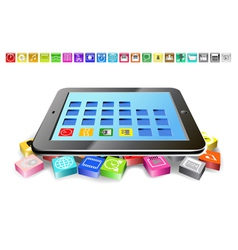 Tablet and icons vector image