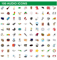 100 audio icons set cartoon style vector image vector image