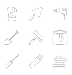 Building tools icons set outline style vector image vector image