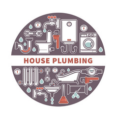 house plumbing firm label for promotion vector image