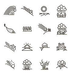 natural disaster signs black thin line icon set vector image vector image
