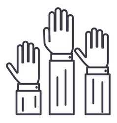 rightsthree hands up line icon sig vector image vector image