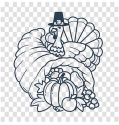 silhouette thanksgiving day cornucopia vector image vector image