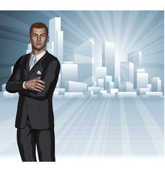 confident young businessman city skyline concept vector image
