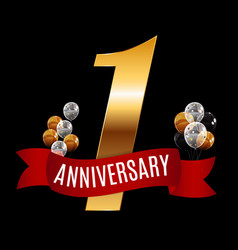 golden 1 years anniversary template with red vector image vector image