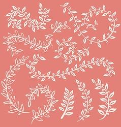 Set of leaves on pink background design elements vector image