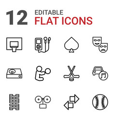 12 play icons vector