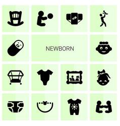 14 newborn icons vector image