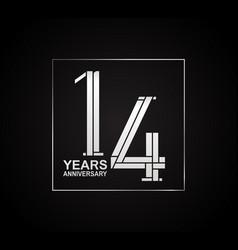 14 years anniversary logotype with cross hatch vector