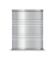3d metallic ribbed tin can canned food vector image