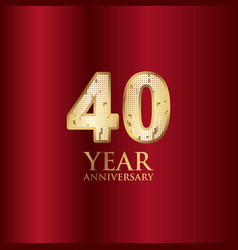 40 year anniversary gold with red background vector