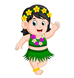 A beautiful girl in hawaiian clothes dances hula vector