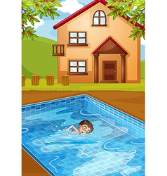 A kid swimming at the pool vector