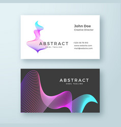 Abstract blend wavy symbol business card vector